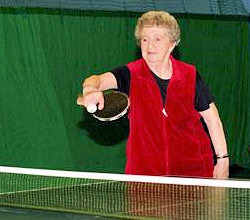 Elderly table tennis player