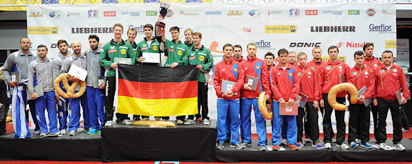 European Championships 2013 Men's Team Event medallists