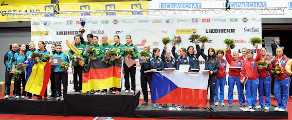 European Championships 2013 Women's Team Event medallists
