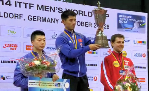 Men's World Cup 2014 Podium - Ma Long, Zhang Jike, Timo Boll