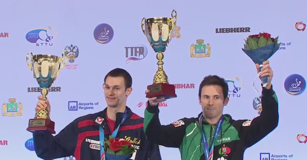 2015 European Championships Men's Doubles winners Stefan FEGERL (Austria) and Joao MONTEIRO (Portugal)