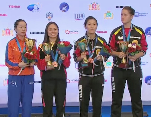 Women's Doubles bronze medal winners - Li Jie (Netherlands) and Li Qian (Poland) - Han Ying and Irene Ivancan (Germany)