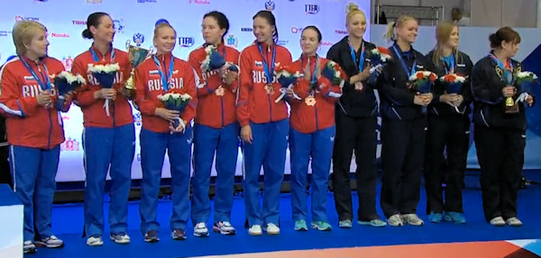 Russia and Ukraine - European Table Tennis Women's Team Bronze Medallists 2015