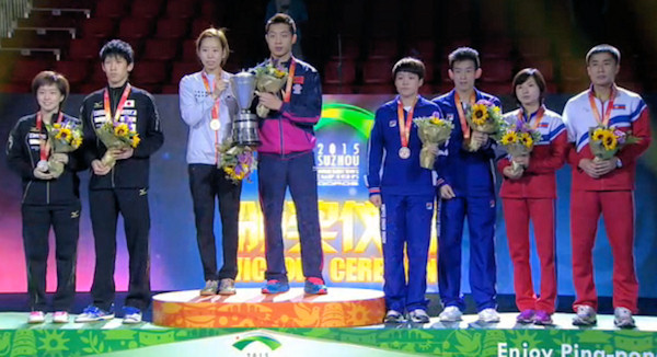2015 World Championship Mixed Doubles Podium