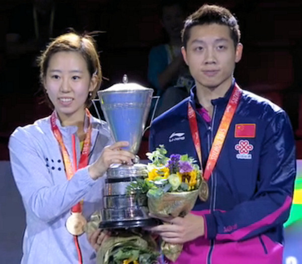 2015 World Championship Mixed Doubles Champions - Yang Haeun (South Korea) and Xu Xin (China)