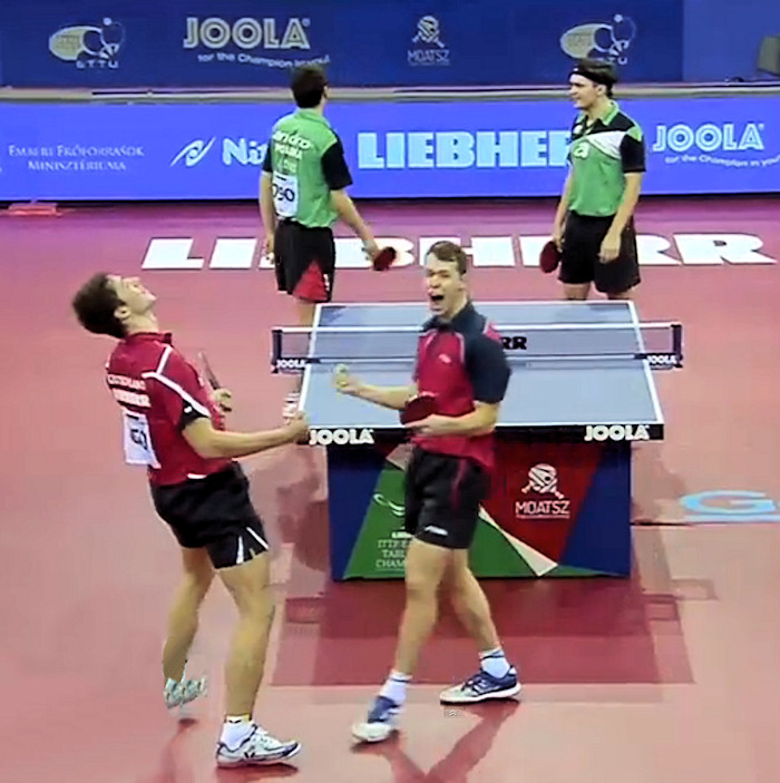 2016 European Championships Men's Doubles - Celebrating the winning point