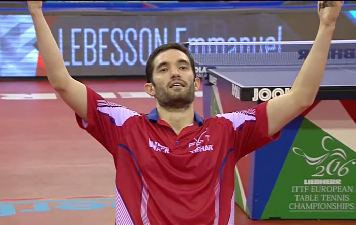2016 European Championships Men's Singles - Celebrating the winning point