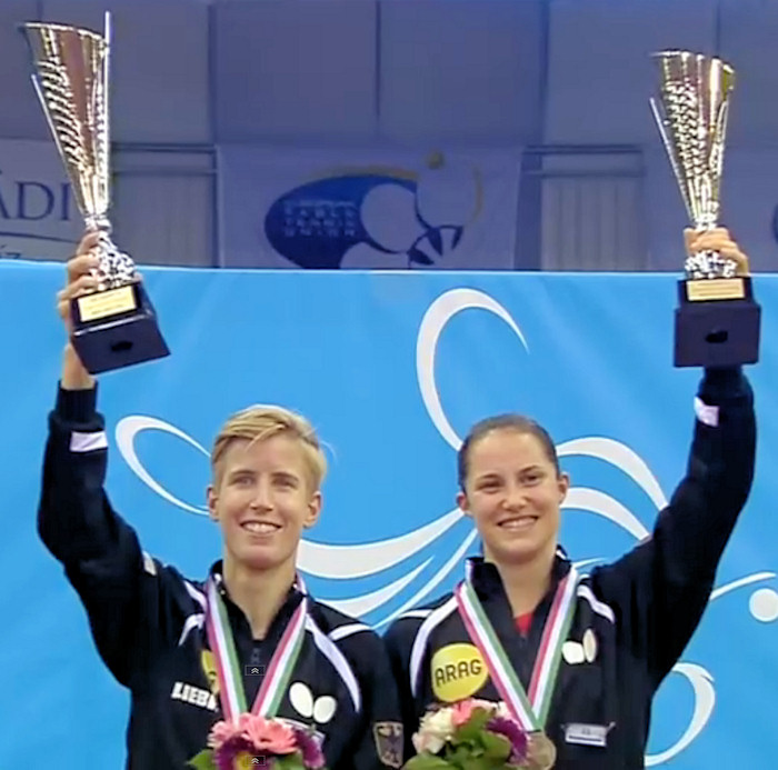 2016 European Championships Women's Doubles winners - Kristin Silbereisen and Sabine Winter
