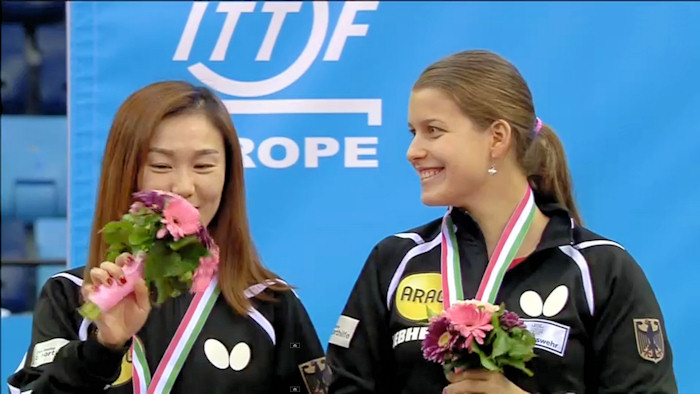 2016 European Championships Women's Doubles silver medallists - Shan Xiaona and Petrissa Solja