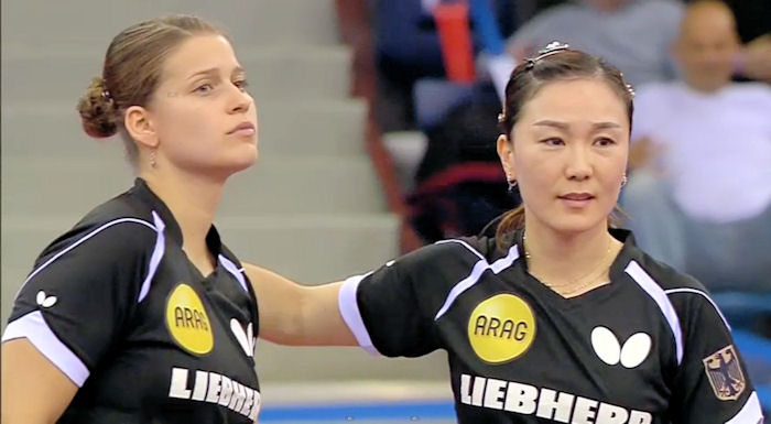 2016 European Championships Women's Doubles silver medallists - Petrissa Solja and Shan Xiaona