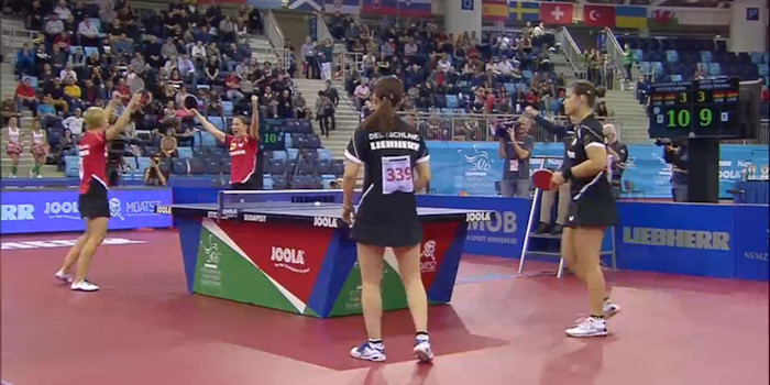 2016 European Championships Women's Doubles - Celebrating the winning point