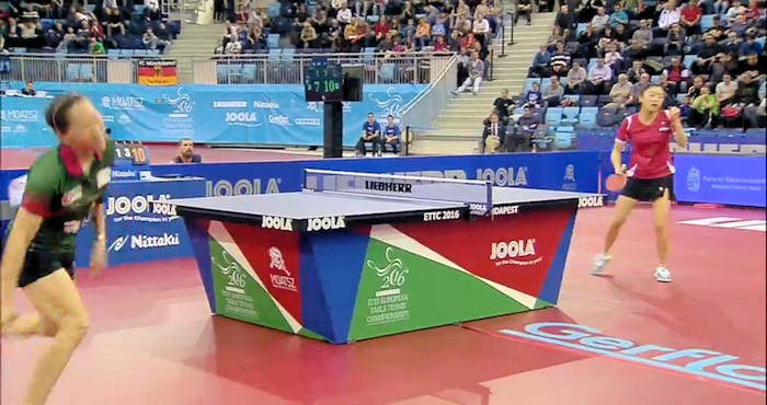 2016 European Championships Women's Singles - Celebrating the winning point