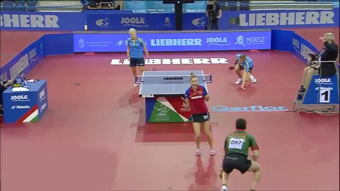2016 European Championships Mixed Doubles winners - Celebrate the winning point