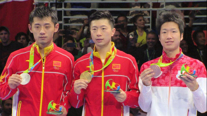 2016 Olympic Games Men's Singles Event medalists - Zhang Jike, Ma Long and Jun Mizutani