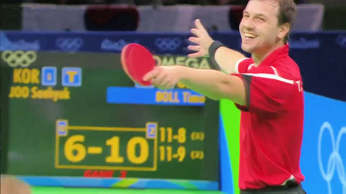 Timo Boll clinching the bronze medal for Germany