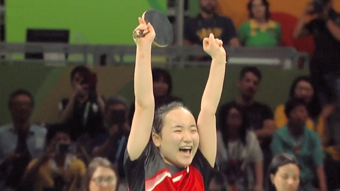 Mima Ito clinching bronze medal for Japan against Singapore