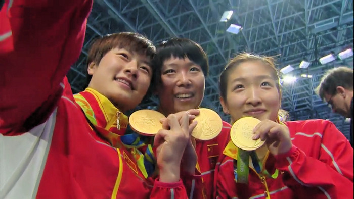 Women's Team Event Gold medal winners - China selfie