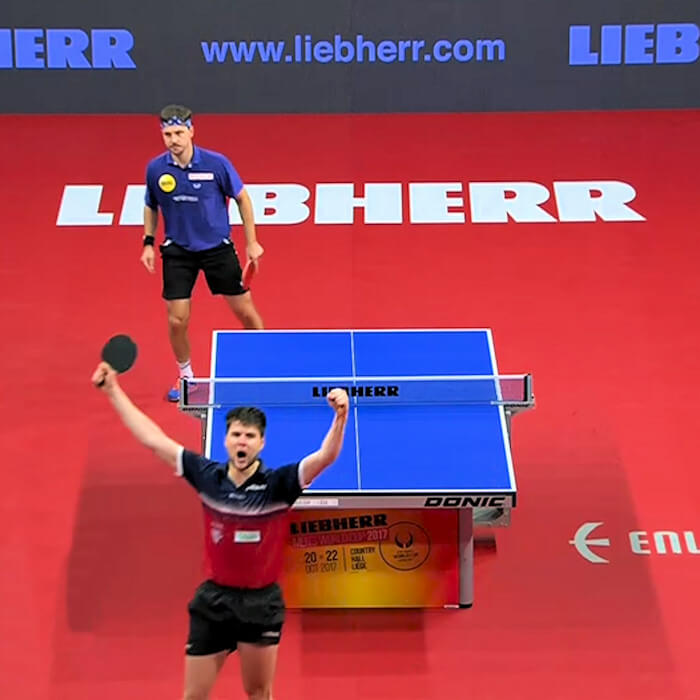 Dimitrij Ovtcharov celebrates winning the final point to clinch World Cup 2017