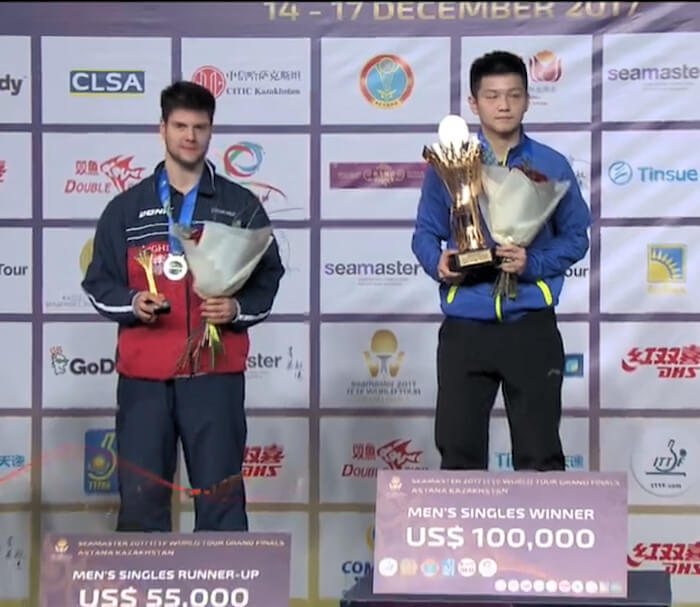 2017 ITTF World Tour Grand Finals - Dimitrij Ovtcharov and Fan Zhendong on the podium
