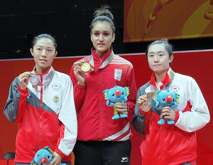 2018 Commonwealth Games Women's Singles Medallists - YU, BATRA, FENG