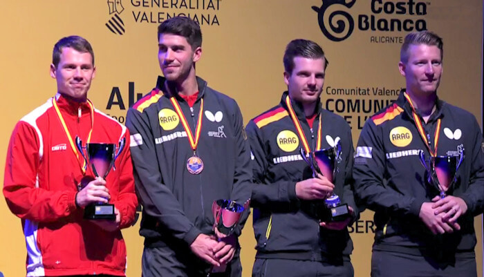 2018 European Championships Men's Doubles bronze medallists - Jonathan Groth and Patrick Franziska, Ricardo Walther and Ruwen Filus