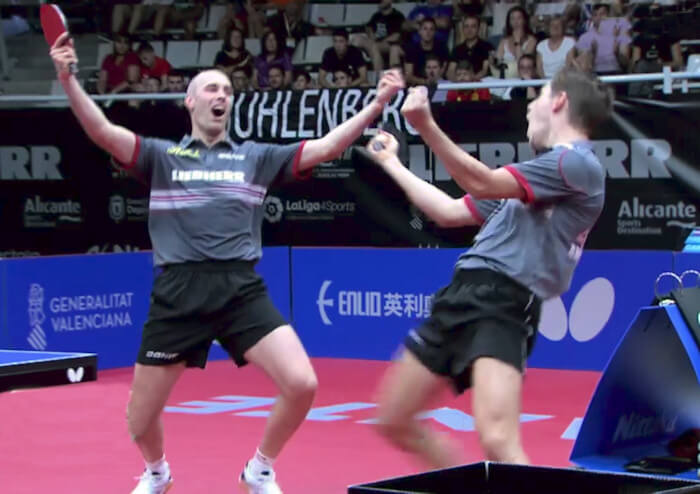 2018 European Championships Men's Doubles gold medallists - Celebrating the winning point