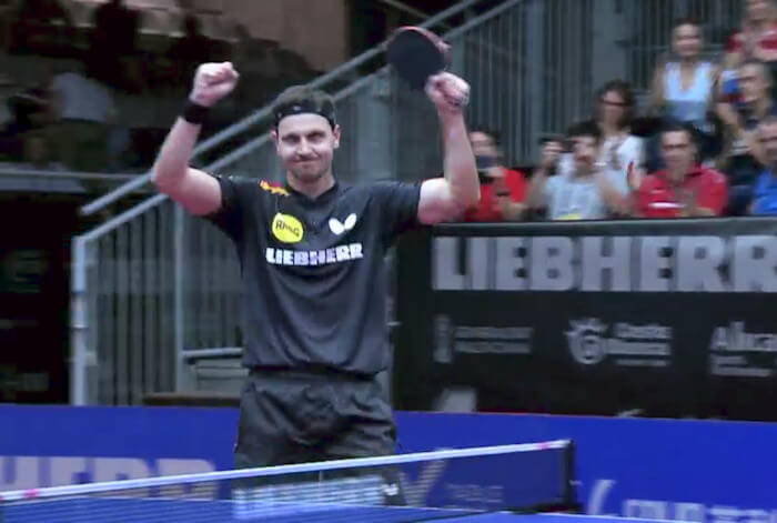 2018 European Championships Men's Singles - Timo Boll celebrating the winning point