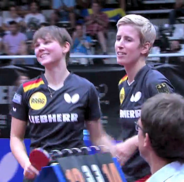 2018 European Championships Women's Doubles - Celebrating the winning point