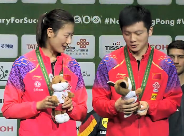2019 World Championships Mixed Doubles Bronze Medallists - Ding Ning and Fan Zhendong (China)