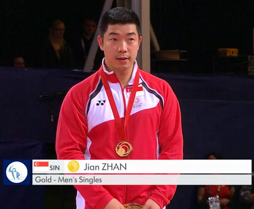 2014 Commonwealth Games Men's Singles Gold Medallist - Jian Zhan
