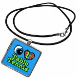 3dRose Dooni Designs Eye Heart I Love Designs - Bright Eye Heart I Love Table Tennis - Necklace With Pendant