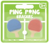 2 Novelty Ping Pong Bat Erasers Rubbers Table Tennis Paddle Shaped Stationary
