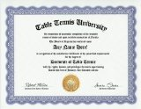 Table Tennis Degree: Custom Gag Diploma Doctorate Certificate