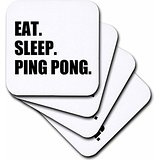 Eat Sleep Ping Pong Soft Coasters, Set of 8