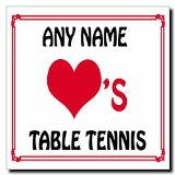 Love Heart Table Tennis Personalized Square Plaque