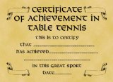 Parchment Style Card Greetings Card 14cm x 10cm Certificate of Achievement in Table Tennis