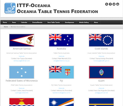 Oceania Table Tennis Federation web site