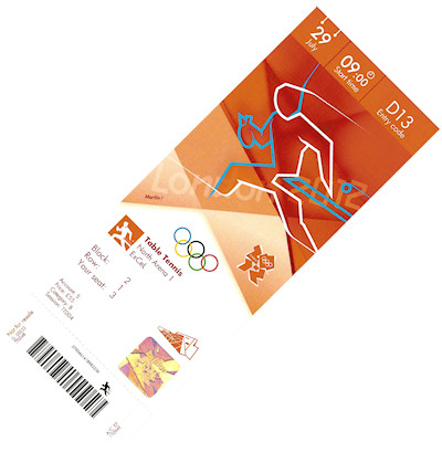 My ticket for the table tennis at the 2012 Olympic Games