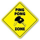 PING PONG ZONE Sign table tennis ball player recreation room