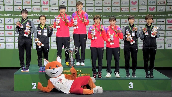 2019 World Championships - Women's Doubles podium