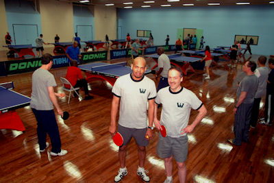 Westchester Table Tennis Center manager Robert Roberts with owner Will Shortz