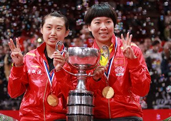 2013 Women's Doubles World Champions - Guo Yue and Li Xiaoxia from China