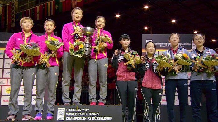 2017 World Championships - Women's Doubles Medallists