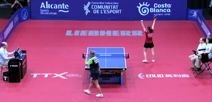 2018 European Championships Women's Singles final - Li Qian celebrates the winning point
