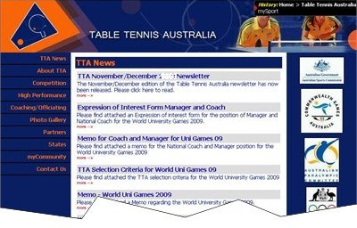 Australian Table Tennis web site