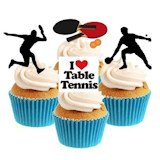 Novelty Table Tennis (ping pong) Mix 12 Edible Stand up wafer paper cake toppers