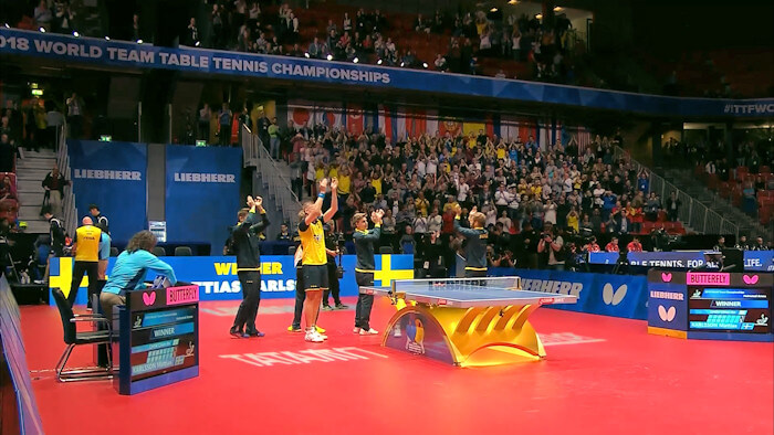 Sweden celebrate victory over Chinese Taipei